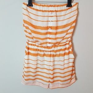 Arden B Orange White Strapless Striped Romper